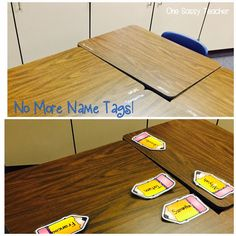 No more name tags getting destroyed! Use permanent marker to write the names on the desk! Click through to find out how to clean it off. Classroom Decor Primary, Classroom Crafts, Classroom Setup, Classroom Organization, Classroom Management, Kindergarten Classroom, Student Name Tags, Desk Name Tags, Desk Tags