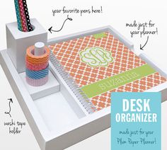 Desk Organizer for Your Planner, Pens, and Washi Tape.  Made to fit your Plum Paper Planner.