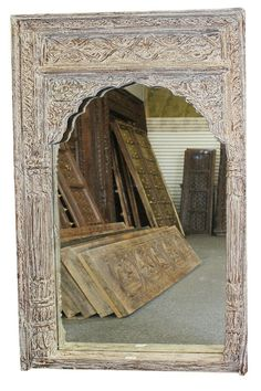 Very beautifully detailed and a masterpiece, absolutely magnificent. Indian Antique Mirror Frame hand carved by Indian artisans to give your room the unique interior. You can use as mirror frame, photo frame, wall hanging panel frame. Hall Mirrors, Arch Mirror, Rustic Mirrors, Crystal Sconce, Crystal Wall, Trumeau Mirror, Beveled Mirror, White Vanity Mirror, Antique Furniture Stores