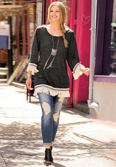 In Fringe   Go for fringe this season in this fringe tunic top & distressed girlfriend jeans. Bold bangles & a tribal statement necklace add a flirty finish to this look. - See more at: http://www.catofashions.com/outfits/250#sthash.6QLaZEOK.dpuf