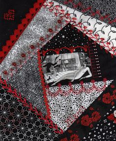 I ❤ crazy quilting & embroidery . . .  MerriKay's block- MerriKay furnished the center fabric, & asked for only black & white fabrics, & red threads for embroidery. ~By Marci H