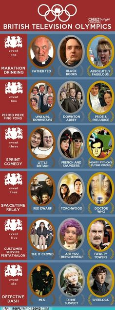 Monty Python, Red Dwarf, Doctor Who, Fawlty Towers, AND Sherlock all medaling? Funny Celebrity Pics, Celebrity Pictures, Fawlty Towers, Father Ted, Midsomer Murders, First Marathon, It Crowd, British Comedy, English Comedy