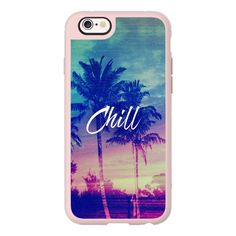 Pink Blue Palm Tree Sunset Beach Tropical Summer Chill Good Vibes... ($40) ❤ liked on Polyvore featuring accessories, tech accessories, iphone case, apple iphone cases, iphone hard case, iphone cover case, blue iphone case and iphone cases