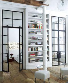 The custom steel doors! Timothy Haynes / Kevin Roberts home in ELLE decor