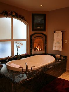 51 Inspiring Bathrooms With Fireplaces : 51 Spectacular Bathrooms With Fireplaces With White Brown Bathtub Shower Towel Fireplace Window Lamp Carpet And Ceramic Floor