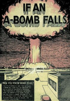 """If an A-Bomb Falls, Cold War Art, Nuclear Fear, Mid-Century Poster Art, "" by outsiderdesign"