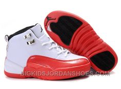 Big Kids Jordan Shoes Kids Air Jordan 12 White Red [Kids Air Jordan 12 - Most of people will be fascinated by you if you take on a pair of Kids Air Jordan 12 White Red sneakers. The black Jumpman logo printed on the white tongue enables the shoes look Jordan Shoes For Kids, Jordan Basketball Shoes, Michael Jordan Shoes, Air Jordan Shoes, Cheap Nike Shoes Online, Puma Shoes Online, Jordan Shoes Online, New Jordans Shoes, Nike Air Jordans