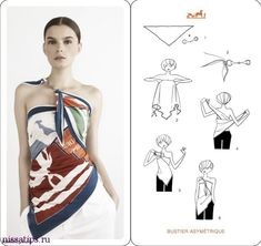 How To Tie A Scarf - Hermès Scarf Knotting Cards Vol.4 - Bustier Asymetrique