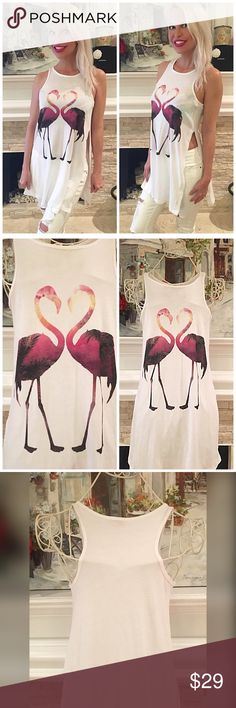 Love Flamingos split side sleeveless tunic! Gorgeous ombré design with double side splits - tunic length Tops Tank Tops