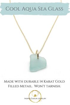 Genuine sea glass and gold necklace, handmade with love. Sea Glass Necklace, Sea Glass Jewelry, Gold Necklace, Pendant Necklace, Jewelry Shop, Jewelry Making, Dainty Gold Jewelry, 14 Karat Gold, Gifts For Her