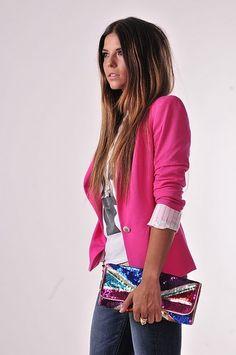 love the pink blazer