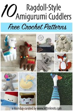Ragdolls are one of my favorite styles of amigurumi crochet! Here I have collected 10 of my favorite free patterns of ragdoll-style amigurumi. Make one today as a baby gift or as a snuggle buddy for your kids. #crochet #amigurumi #freecrochetpattern