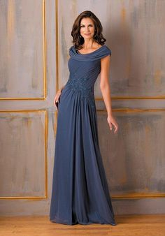 Chic and stylish, this special occasion dress is perfect for your next event. This Tiffany chiffon gown has a boat neckline, A-line skirt.