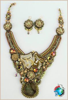 Necklace beaded, embroidery and beadwork