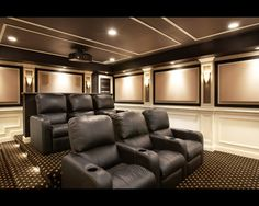 Exterior: Stupendous Room With Black Sofa On Motive Carpet Under Lighting  On Interesting Ceiling . Candace Tron Keeler · Home Movie Theater Design  Ideas