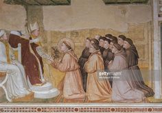Cappella Bardi, by Giotto di Bondone, c. 1325, 14th Century, fresco Italy, Tuscany, Florence, Basilica of Santa Croce. Detail. Confirmation of the Rule: Innocentius III with two cardinals sitting beside him approving the Rule of Saint...More  January 01, 2000