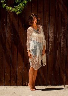 Midi Lace tunic with V neckline, lace tunic with wide sleeves, v back lace tunic on Etsy, $67.25