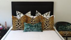 Our oh-so popular signature leopard velvet pillow, whether styled on your living room sofa or as a part of your bedding ensemble Glam Bedroom, Stylish Bedroom, Home Bedroom, Bedroom Decor, Master Bedroom, Bedrooms, Living Room Pillows, Living Room Decor, Boudoir