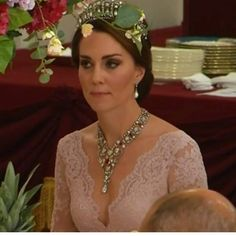 12 July 2017 - William and Kate join The Queen and Prince Philip as they host King Felipe VI and Queen Letizia of Spain for a State Banquet at Buckingham Palace - dress by Marchesa