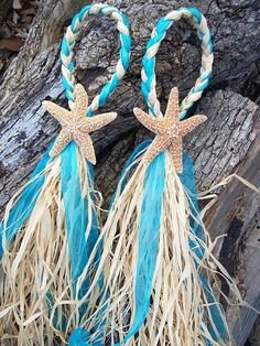 Beach Wedding Decor, Starfish Chair Hanger, Small Starfish and Raffia Decoration, Choose your Ribbon, Destination Wedding on Etsy, $12.00