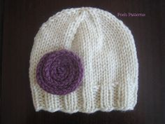 Knitting PATTERN Hat Easy Knit Beanie & Flower by PoshPatterns, $4.50    Flower is cute! Just knit i-cord and... :)
