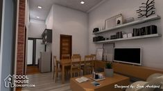 Sketchup House Modeling Idea From Photo - SamPhoas Plan Small Modern Home, Modern Tiny House, Narrow Lot House Plans, House Floor Plans, Minimalist House Design, Minimalist Home, Best Small House Designs, Single Storey House Plans, Bungalow House Design