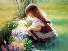 Love, love oil paintings of little girls in nature