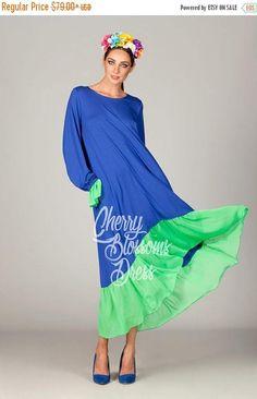 SALE ON 20 % OFF Blue Maxi dress/ Plus size dress/ Summer
