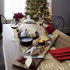 Holiday Decorating!  Christmas Cheer Runner in Table Runners | Crate and Barrel