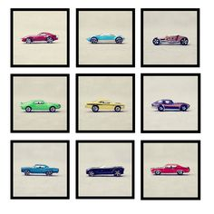 great set of matchbox car photgraphs, katie lloyd, etsy. boys room.