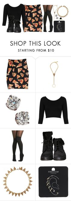 """""""I can't stop thinking about the way I left you sinking with no escape."""" by rocketsheep ❤ liked on Polyvore featuring Glenda López, Tiffany & Co., Topshop, Pretty Polly, Zara, lyrics, pizza, ofmiceandmen and RestoringForce"""