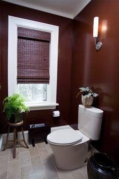Modern Bathroom - Custom Millwork and Window Trim - Stone Tile Floor - Slender Single Sconce