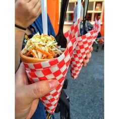 So for the first time I went to Chili Cone Queso at the Cozy Cone in California Adventure and we asked the guy taking orders if it would be okay if we got one of each could he do half and half.. He paused and agreed. We got them and realized he had layered the bacon mac and cheese with the pulled pork all the way down the cone.. #winning #thanksguy by iinsomniacii