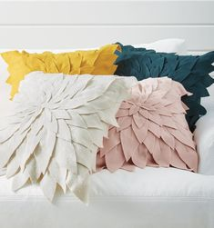 Layers of delicate felt petals unfold atop our Floral Applique Pillow, and extend beyond the edge to soften its oversized square shape. It's a textural beauty, like a subtle piece of pillow art for the sofa. Floral Throws, Floral Throw Pillows, Decorative Throw Pillows, Indian Pillows, Bird Pillow, Applique Pillows, Pillow Inspiration, Embroidered Bird, African Mud Cloth