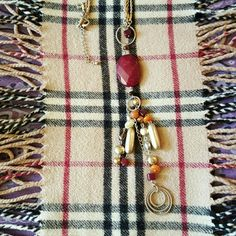 LiaSophia Senorita genuine honey quartz and red Adventurine with glass beads 32 - 35 inch necklace originally $130 Lia Sophia Jewelry Necklaces