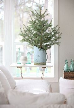 Minimal holiday touches throughout the home