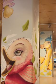 Decoration created with spraypaint, original characters specifically designed for this artistic intervention. For a baby clothes shop