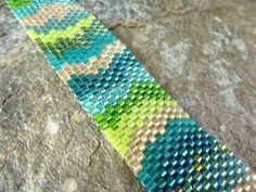Bracelet in Tropical Blue Green and Yellow Seed by SierraBeader, $55.00
