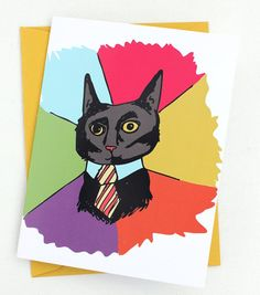 CAT MEME Business Cat A2 Folded Card with by rottencupcakes, $4.00 #cats #businesscat #notecard #stationery #imadethis #meme