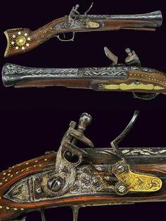 Ottoman flintlock blunderbuss pistol, smooth, two-stage barrel with rings at… Cowboy Action Shooting, Shooting Guns, Weapons Guns, Guns And Ammo, Rifles, Steampunk, Flintlock Pistol, Neck Bones, Turkish Army