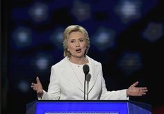 Hillary Clinton speaks during the Democratic National Convention in Philadelphia…