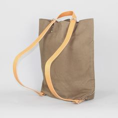 School Bag in Khaki Canvas