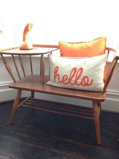 Vintage Telephone Seat Table Hall Seat Teak Chippy Heath