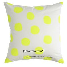 Coussin Bla pois - neon Yellow dots