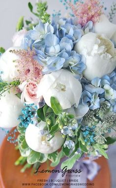 Blue and White Flower Arrangement. White peonies and Blue hydrangeas go perfectly together in this classic floral design. Would be great for a baby shower, christening, or sip n see. Traditional Baby Boy Shower Inspiration with Old Southern Charm Amazing Flowers, Fresh Flowers, Beautiful Flowers, Beautiful Bouquets, Pastel Flowers, Pastel Colors, Spring Flowers, Floral Bouquets, Wedding Bouquets