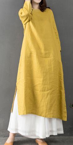 Elegant o neck linen clothes Fabrics yellow Dress – Hijab Fashion 2020 Muslim Fashion, Hijab Fashion, Fashion Dresses, Style Fashion, Dresses Elegant, Casual Dresses, Linen Dresses, Cotton Dresses, Funny Dresses