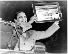 """Dewey Defeats Truman"" - Remember when President Truman defeated Gov. Dewey in the 1948 Presidential race with the incorrect headline?  This is a contemporary (June 28, 2012) version of this with President Obama holding an iPad with CNN's incorrect headline!   (Photo illustration by Gary He) - Excellent!"