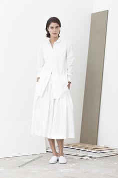 Gifford paneled laser cotton collared shirt worn with Poste full skirt with drawstring waist and pockets
