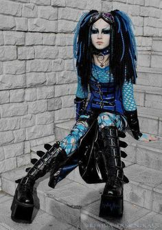 Cyber goth (not my particular favourite or style but I like her makeup) Cyberpunk, Dark Beauty, Gothic Beauty, Gothic Girls, Gothic Lolita, Dark Fashion, Gothic Fashion, Steam Punk, Cosplay