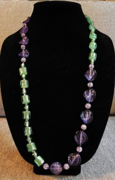Summer Colored Blocked Long Beaded Necklace by SharonGJewelry, $19.99